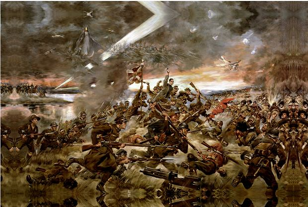 Obraz Jerzego Kossaka 'Cud nad Wisłą 15 sierpnia 1920' z 1930 r. W bogatej w postaci scenie batalistycznej od razu rzucają się w oczy Matka Boska oraz biegnący z uniesionym krzyżem ksiądz Ignacy Skorupka, który poległ 14 sierpnia 1920 r. pod Ossowem