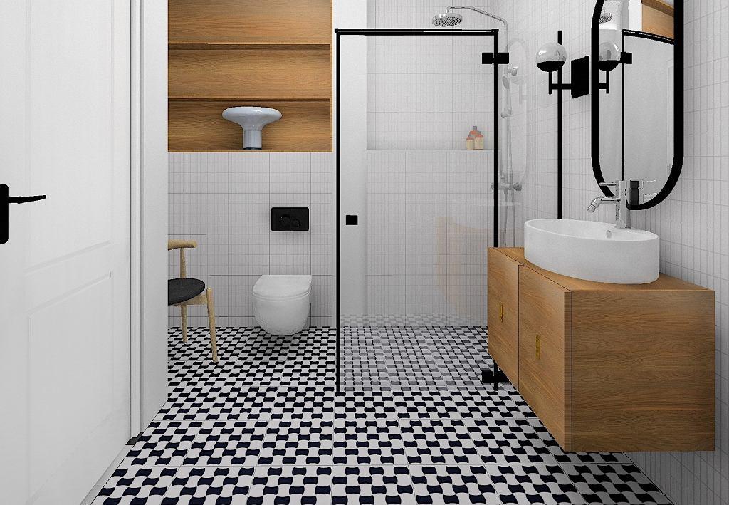 Projekt nowoczesnej łazienki. Autor: Wioleta Bednarczyk