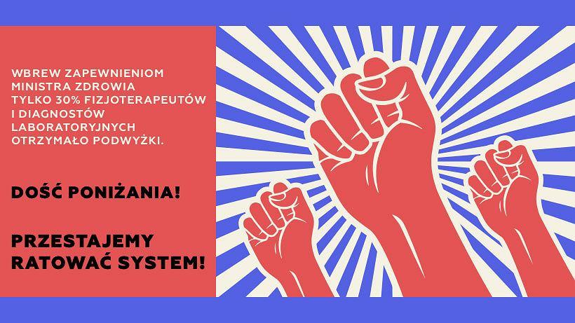 Plakat zapowiadający protest fizjoterapeutów i diagnostów laboratoryjnych.
