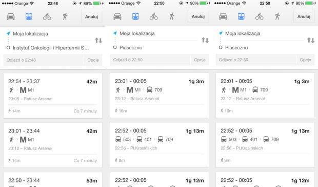Google Transit już działa w Warszawie