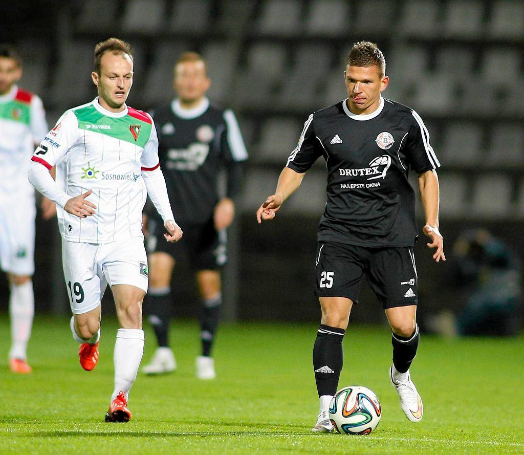 Martin Pribula (z lewej) i Adrian Chomiuk w meczu Zagłębia z Bytovią