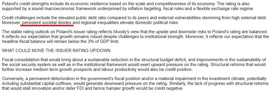 Fragment opinii agencji Moody's o Polsce