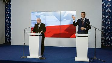 Prezes Jarosław Kaczyński i premier Mateusz Morawiecki podczas ogłaszania składu nowego rządu (zdjęcie ilustracyjne)