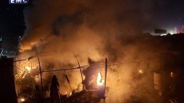 Zdjęcie mające pokazywać skutki ataku rakietowego na obóz uchodźców wewnętrznych w Syrii