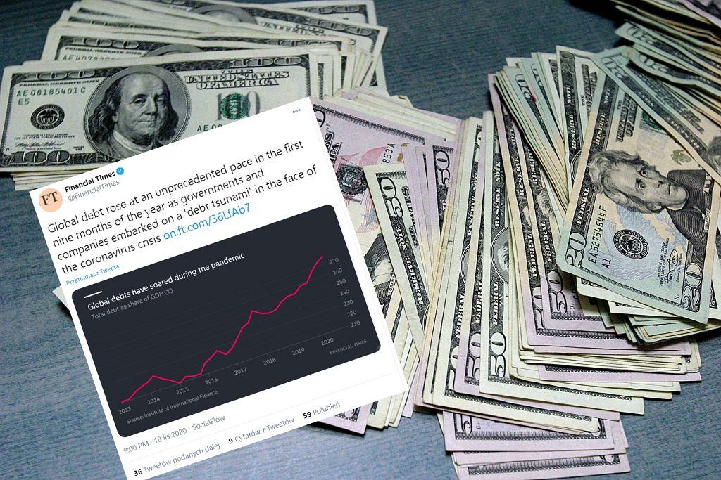 Globalne zadłużenie wzrosło w tym roku już o 15 bilionów dolarów.