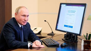 17.09.2021 r., Władimir Putin głosuje elektronicznie w wyborach parlamentarnych