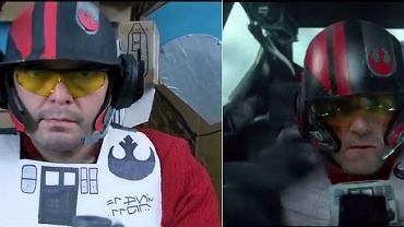 """Z lewej kadr ze zwiastuna przygotowanego przez fanów, z prawej z materiału promującego """"Gwiezdne wojny: Przebudzenie Mocy"""""""