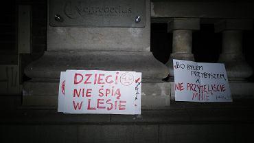 Kraków. Protest przeciwko działaniom rządu wobec uchodźców na polsko-białoruskiej granicy.