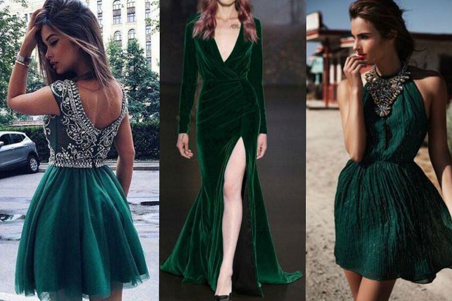 8f48efff Sukienki w kolorze butelkowej zieleni - stylizacje na specjalne okazje