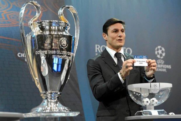 Javier Zanetti na losowaniu Ligi Mistrzów