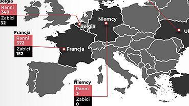 Mapa zamachów w Europie od stycznia 2015 r.