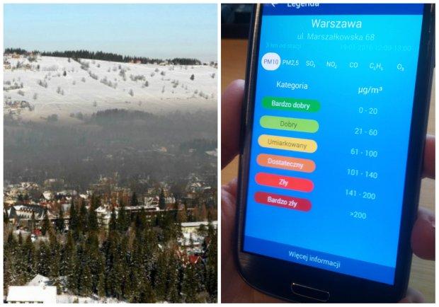 Aplikacja 'Jakość powietrza w Polsce' stworzona przez GIOŚ