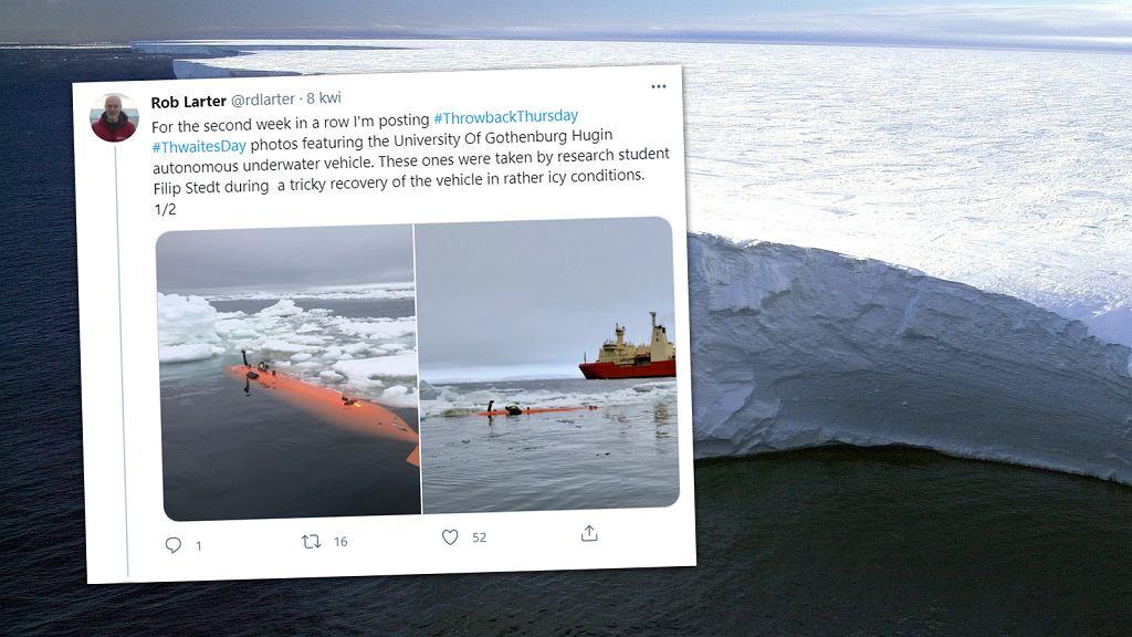 Thwaites jest jednym z sześciu wielkich lodowców Antarktyki