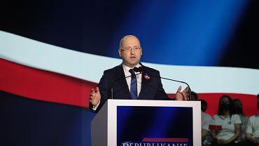 20.06.2021 Warszawa , ulica Złota . Teatr Palladium. Adam Bielan podczas prezentacji nowej partii Republikanie.