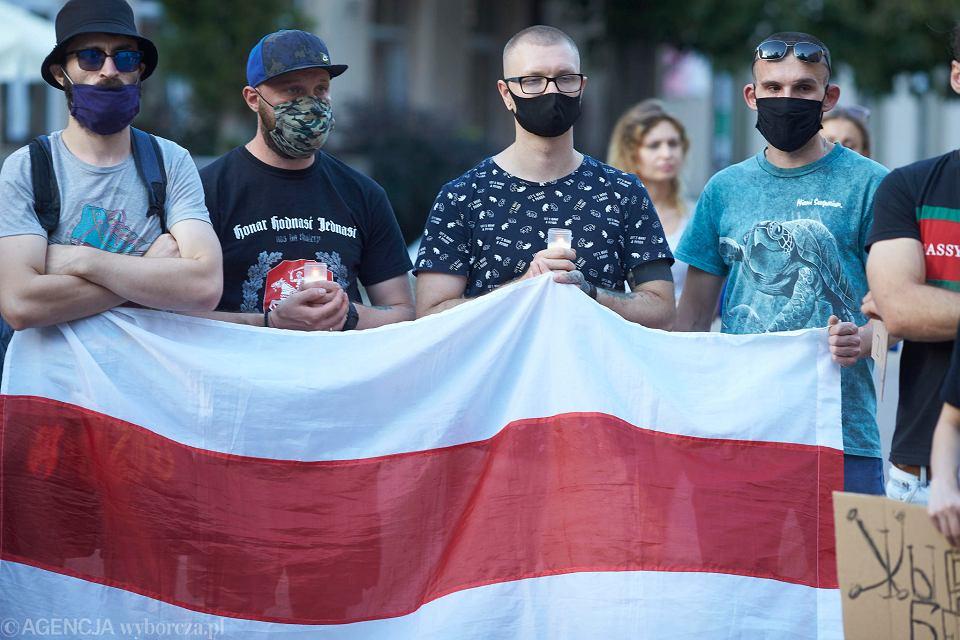 Wiec w Łodzi po wyborach prezydenckich na Białorusi