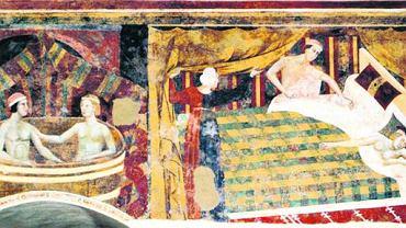 Późno pojawiają się wyobrażenia życia rodzinnego takie jak na fresku z początku XIV w. w Palazzo del Podesta w San Gimignano we Włoszech. Średniowiecze znało kilka rodzajów związków małżeńskich, ale tylko jeden z nich uznawało za dożywotni i nierozwiązywalny