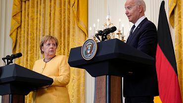 Kanclerz Niemiec Angela Merkel oraz prezydent Stanów Zjednoczonych Joe Biden podczas konferencji w Białym Domu w czwartek 15 lipca