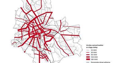 Natężenie ruchu na warszawskich ulicach.