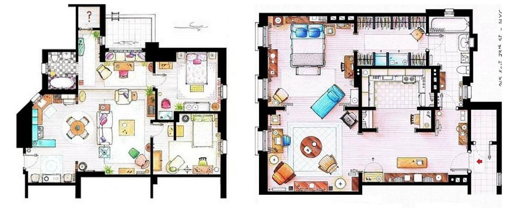 Z lewej - plan mieszkania Moniki; z prawej - plan mieszkania Carrie