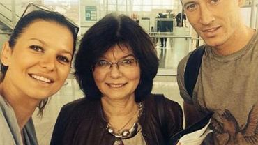 Anna Lewandowska z mamą i mężem
