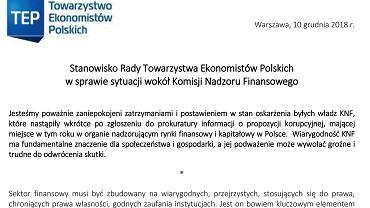 Stanowisko Towarzystwa Ekonomistów Polskich w sprawie KNF.