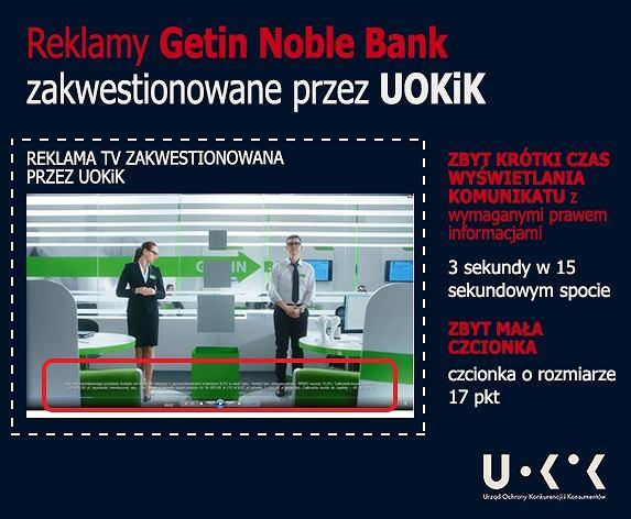 Zastrzeżenia UOKiK wobec reklamy Getin Noble Bank