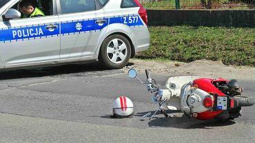Wypadek z udziałem skutera na ul. Jutrzenki