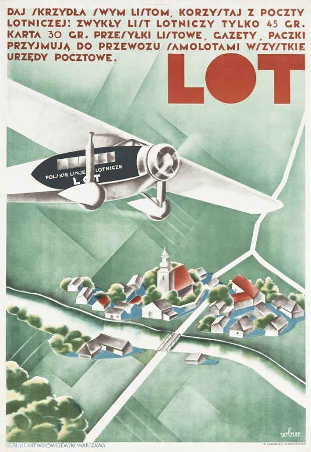 Plakat promocyjny LOT-u; Wanda Borowska, Wanda Wernerowa; 1934 r.