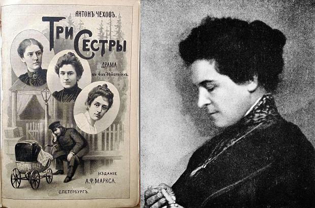 Okładka 'Trzech sióstr' - dramatu Czechowa wydanego po raz pierwszy w 1901 roku. W środkowym kółku i na zdjęciu po prawej jest Olga Knipper, aktorka Teatru Moskiewskiego i późniejsza żona Czechowa / Fot. Wikimedia Comons/domena publiczna.