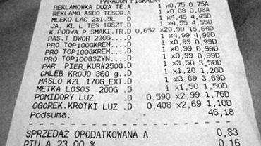 Tomasz Motyliński pokazał paragon z zakupów