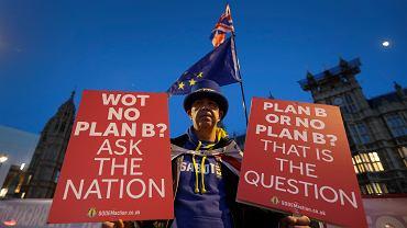 Im bliżej brexitu, tym Brytyjczycy bardziej zdają sobie sprawę z jego negatywnych konsekwencji dla ich państwa. Dlatego liczba zwolenników pozostania w UE rośnie. Na zdjęciu prounijny demonstrant pod gmachem parlamentu. 17 stycznia 2019