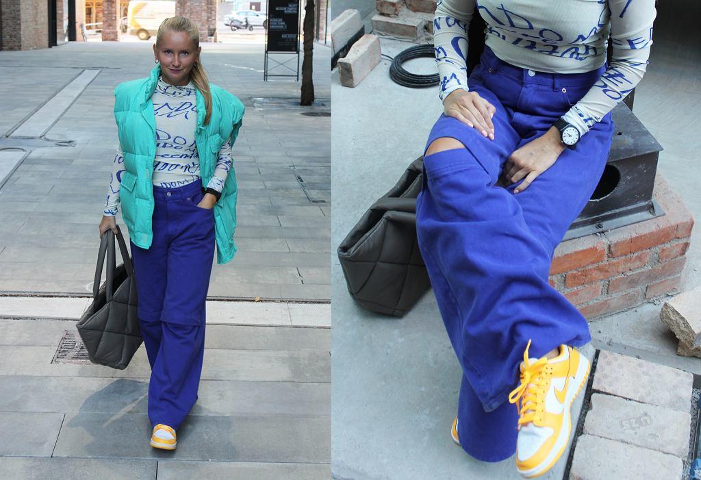 Stylizacja z szerokimi spodniami