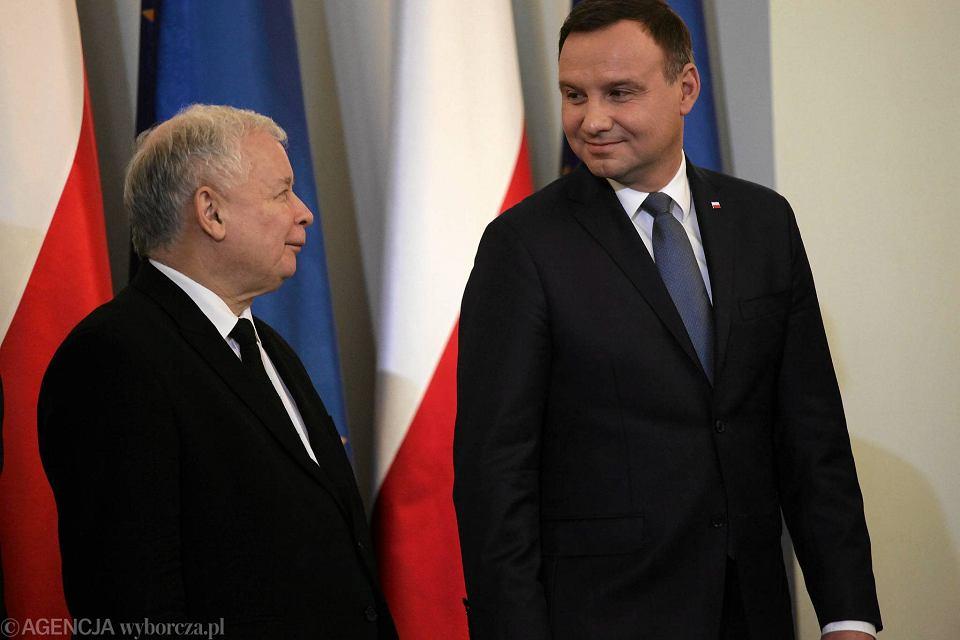 Prezydent Andrzej Duda i prezes PiS Jarosław Kaczyński. Warszawa, Pałac Prezydencki, 13 listopada 2015