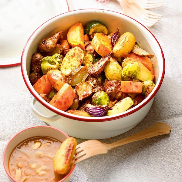 Pieczone warzywa z sosem musztardowym