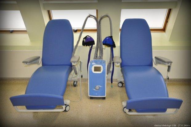 Urządzenie z czepkami do chemioterapii