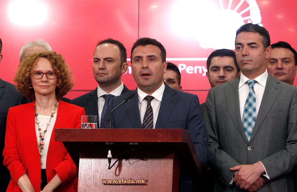 12.06.2018, Skopje, premier Zoran Zaew na konferencji prasowej na której ogłosił ugodę z Grecją co do nazwy państwa, które będzie nazywało się Macedonia Północna