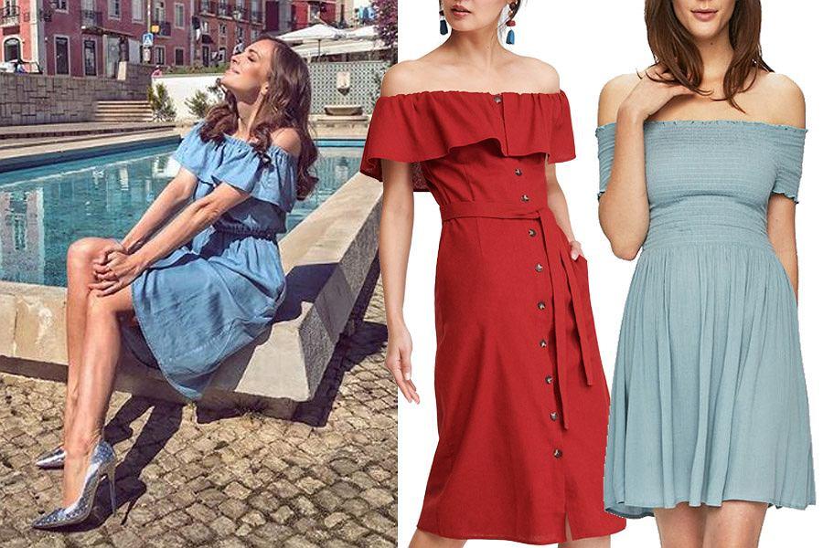 sukienki z odkrytymi ramionami, mat. partnera
