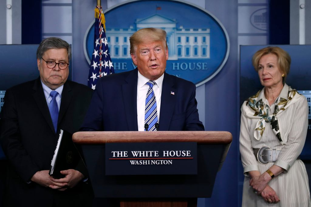 Prezydent Donald Trump podczas konferencji w sprawie koronawirusa, 23 marca 2020.