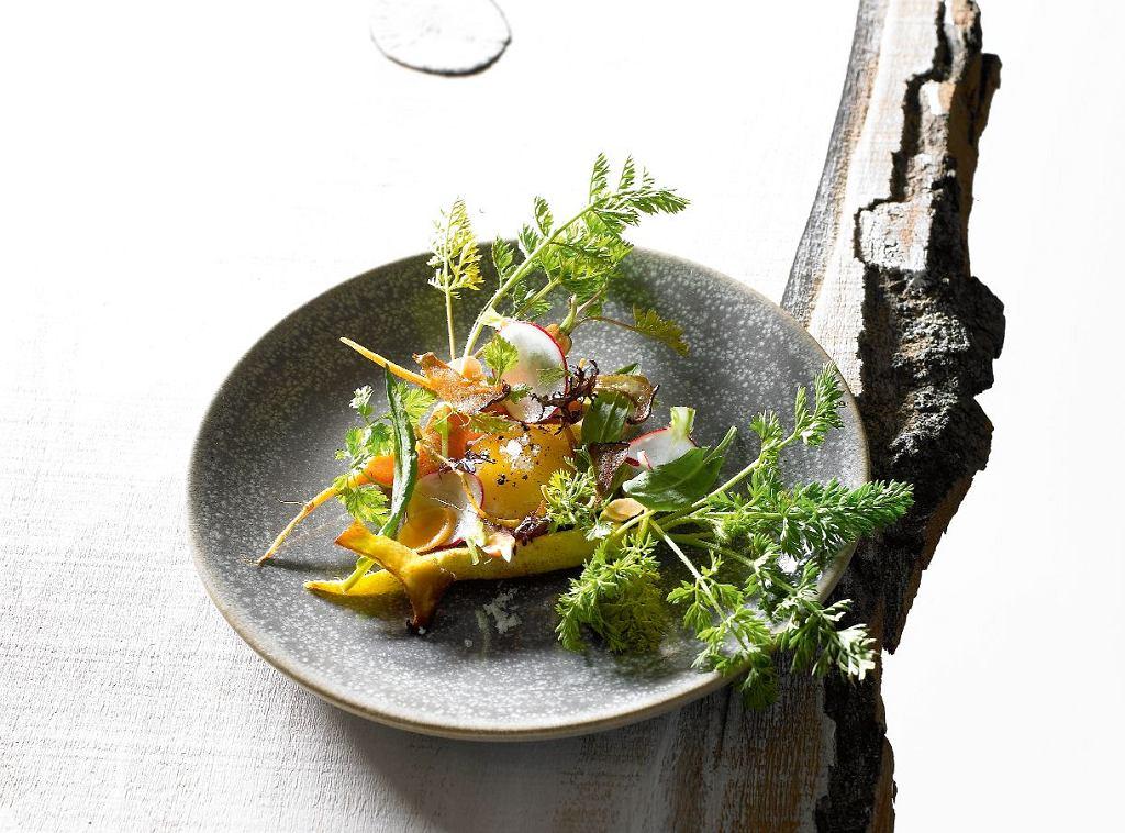 Sałatka z marchewką, borowikami, konfitowanym żółtkiem i szczawiem