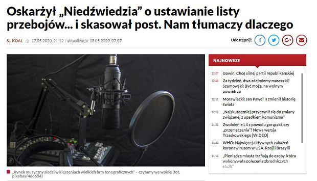 Najnowsza wersja artykułu zamieszczonego na portalu TVP Info