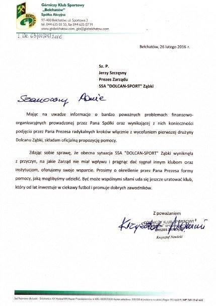 Pismo prezesa PGE GKS Bełchatów do zarządu Dolcanu Ząbki