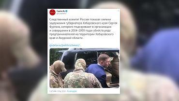 Zdjęcie z zatrzymania Siergieja Furgala, gubrnatora Kraju Chabarowskiego. Źródło: Twitter