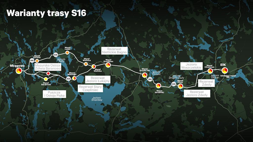 Warianty trasy S16