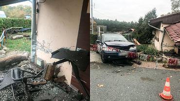 Zniszczony ganek i renault