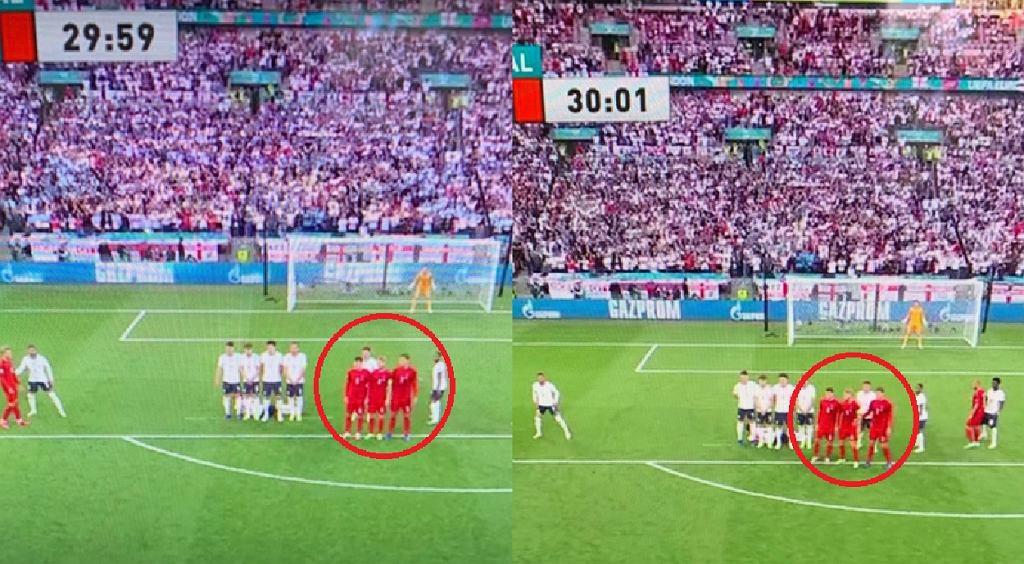 Zachowanie muru w meczu Anglia - Dania