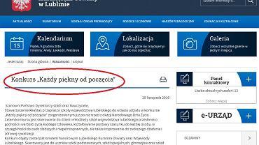 Informacja o konkursie na stronie lubelskiego kuratorium oświaty