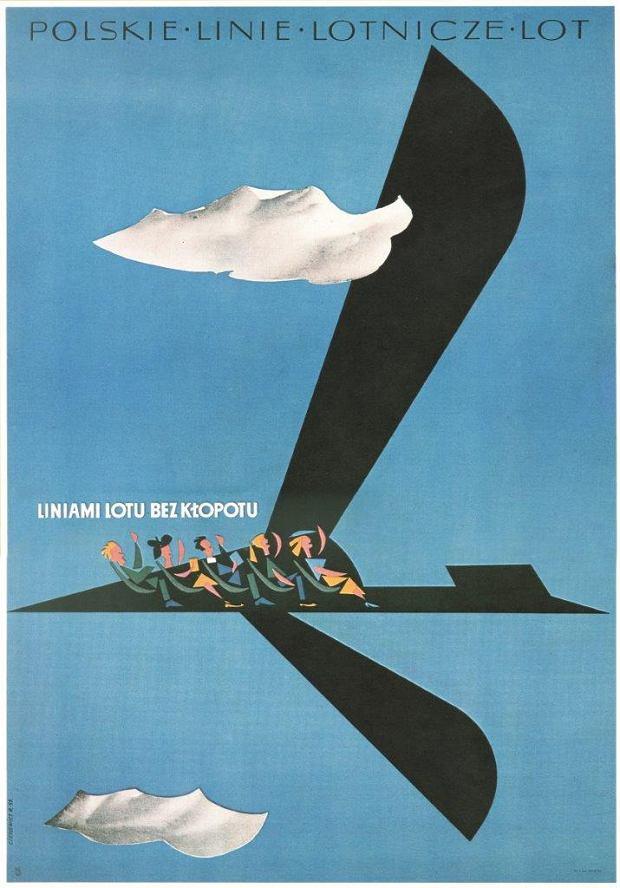 Plakat promocyjny LOT-u; Roman Cieślewicz; 1957 r.