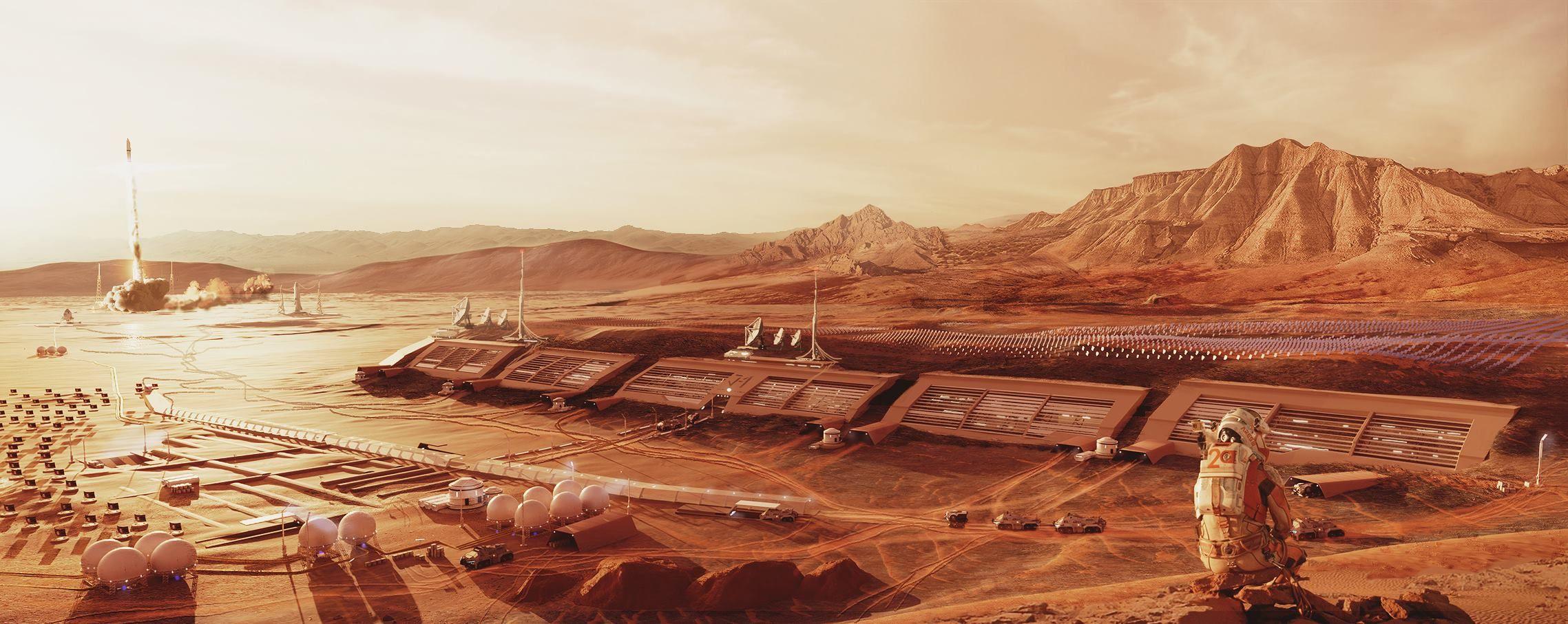 Ze względu na wyjątkowo szkodliwe promieniowanie kosmiczne większa część habitatu została umieszczona pod gruntem. W niedalekiej odległości od kolonii umieszczono lądowisko dla rakiet.