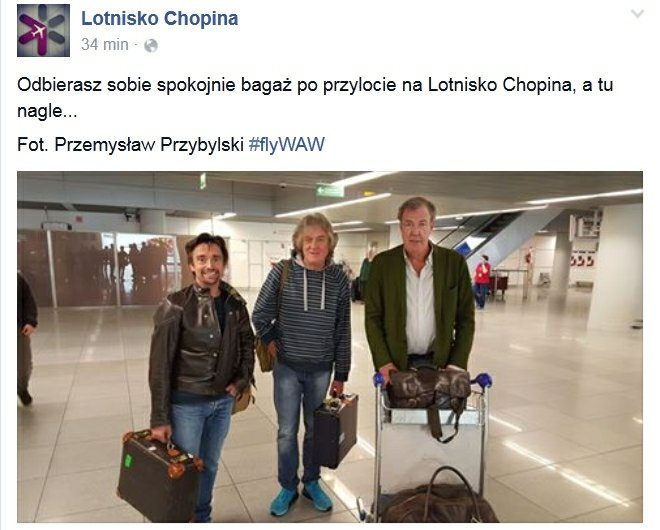 Clarkson, Hammond i May na Lotnisku Chopina