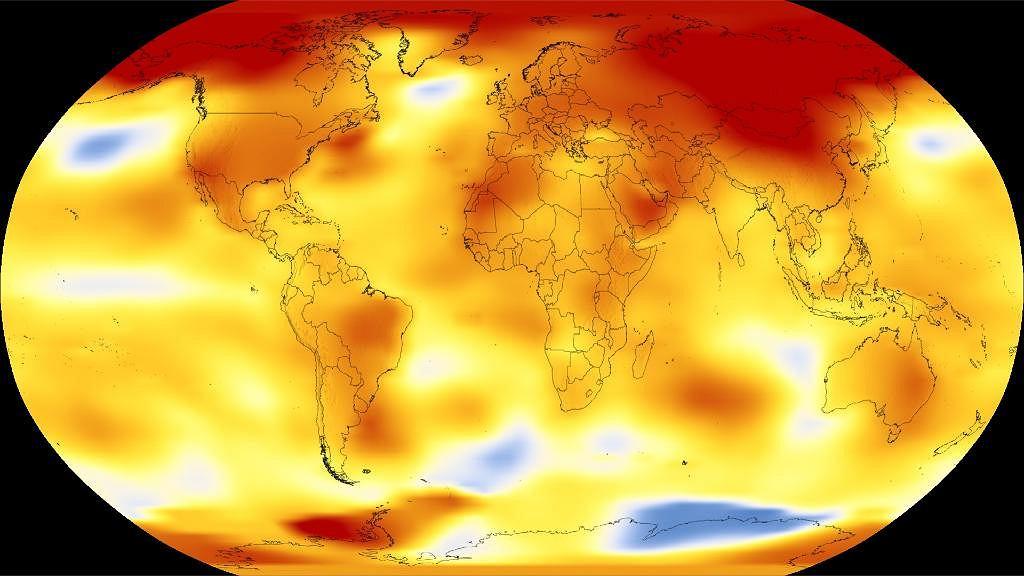 Zdjęcie NASA pokazujące wzrost temperatury na świecie w 2018 roku.